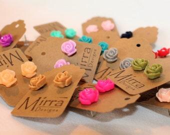 Rose Earrings - Stud Earrings - Resin Flower Earrings - Rose Stud Earrings - Jewelry Gift for her - Bridesmaid Jewelry - Bridesmaid Gift
