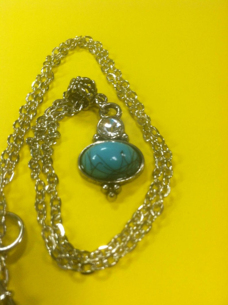Blue Pendant with silver chain
