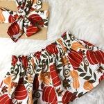Fall Pumpkin Skirt Set- Thanksgiving pumpkin skirt, pumpkin head wrap, fall skirt set, fall pumpkin, Halloween skirt