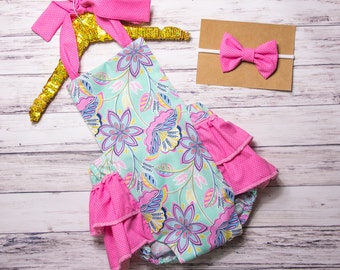 aeb7a6af08020 Baby Girl Romper- Pink and Mint Floral ruffle romper and head wrap set,  Pink outfit, first birthday, girls pink ruffle outfit, Easter outfit