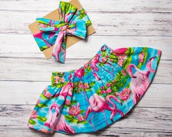 Turquoise Flamingo Skirt and Head wrap Set- palm tree and flamingo head wrap set, baby skirt, girls skirt, tropical baby smashcake outfit