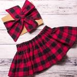 Buffalo Plaid Skirt and Head wrap- red buffalo plaid head wrap, Christmas baby skirt, plaid skirt