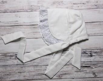 White Eyelet Baby Bonnet- white sunbonnet, Easter bonnet, Baby girl hat, Easter baby bonnet, eyelet baby bloomers, eyelet diaper cover