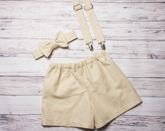 Baby Boys khaki shorts, Baby Boys Easter outfit, khaki toddler boy outfit, khaki suspenders and bow tie, linen shorts and bow tie