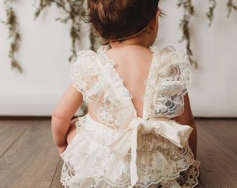 967327da6c3d Cream Lace Baby Romper- Baby Girl Birthday Romper