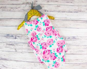 Pink floral romper- vintage style romper, summer sun suit, floral and stripes, floral birthday romper, vintage floral romper, pink roses