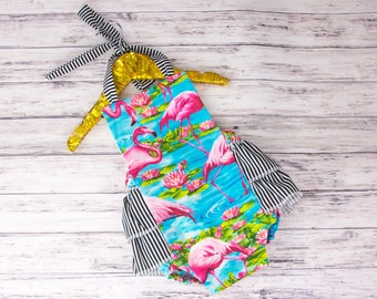 Baby Girl Romper, Flamingo and Stripes romper and head wrap set, turquoise and pink flamingo romper, flamingo birthday party outfit