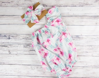 White and Blue Floral Ruffle Baby Romper-  One Shoulder romper, Spring outfit, Easter romper, Easter outfit, Vintage inspired romper