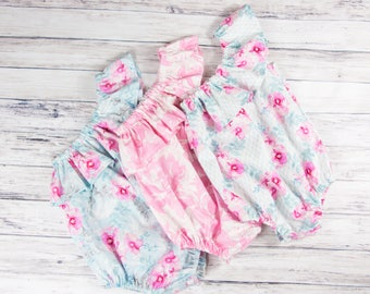 One Shoulder Ruffle Baby Romper- Floral romper, Spring outfit, Easter romper, Easter outfit, Vintage inspired romper, ruffle romper, roses