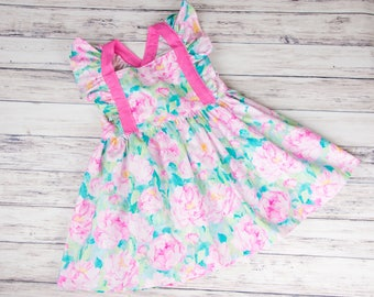 Baby Girl Floral Easter Dress- pink floral dress, spring dress, girl's Easter outfit, summer outfit, watercolor flowers, 1st birthday dress