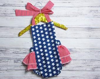 4aea828b60d Baby Girl Romper- Stars   Stripes Ruffle Romper