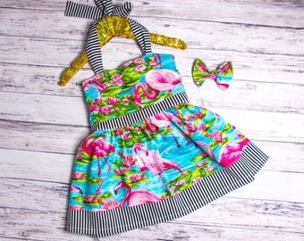 Flamingo and Stripes Halter Dress, baby girl flamingo dress, flamingo outfit, flamingo party outfit, flamingo party dress