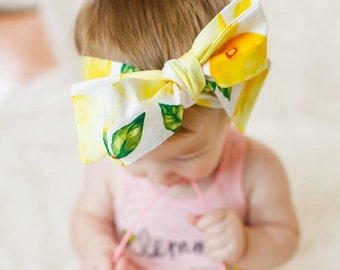 Lemonade Head wrap- fruit head wrap, tropical head wrap, girls bow tied head wrap