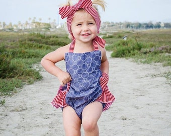 Baby Girl Romper- nautical ropes and stripes romper and head wrap set, nautical baby girl outfit, summer ruffle romper, sailor romper