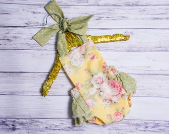 92e6922ed0ae5 Baby Girl Romper- Yellow and Green Floral ruffle romper and head wrap set,  Yellow outfit, first birthday, baby girls ruffle romper