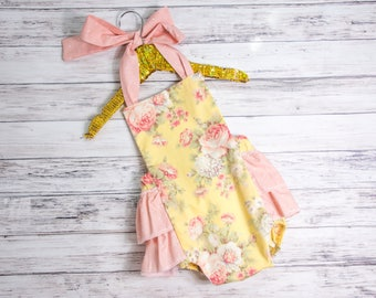 ae8825aac4c04 Baby Girl Romper- Yellow and Peach Floral ruffle romper and head wrap set,  Yellow outfit, first birthday, baby girls ruffle romper
