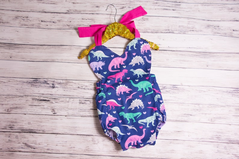 b00ebb9a10568 Baby Girl Dinosaur Heart Romper Pink Dinosaur Romper   Etsy