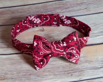 Bandana bow tie with Velcro attachment- velcro bow tie, toddler bow tie, baby bow tie, baby boy smash cake outfit