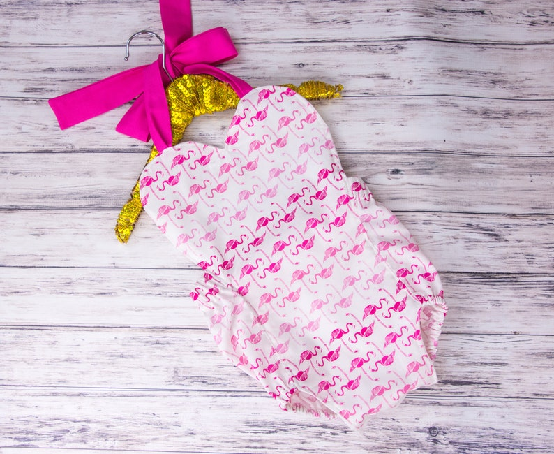 32b0445801f6 Baby Girl Pink Flamingo Heart Romper flamingo Romper and bow
