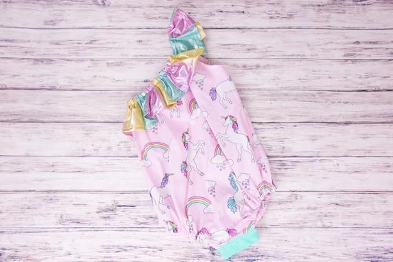 a8e304843ef Unicorn One Shoulder Ruffle Baby Romper unicorn rainbow