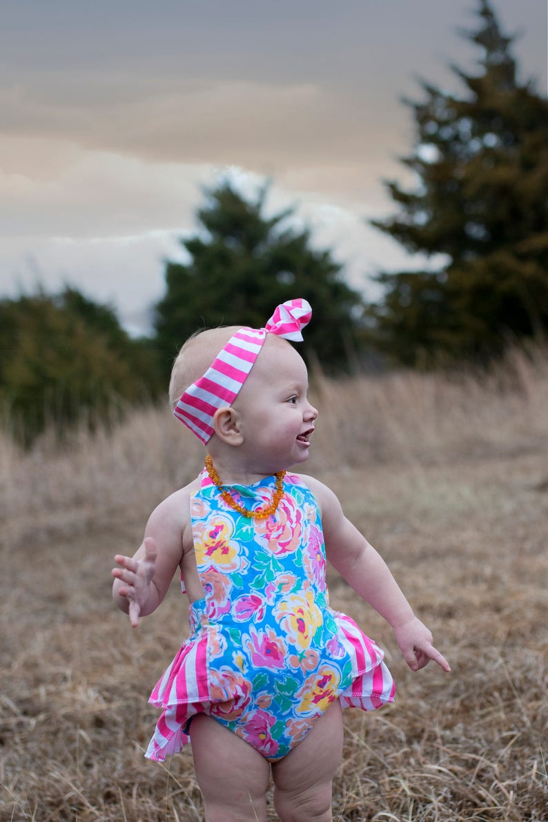 48a7b6e6f9059 Baby Girl Romper Floral and Stripes romper and head wrap set   Etsy