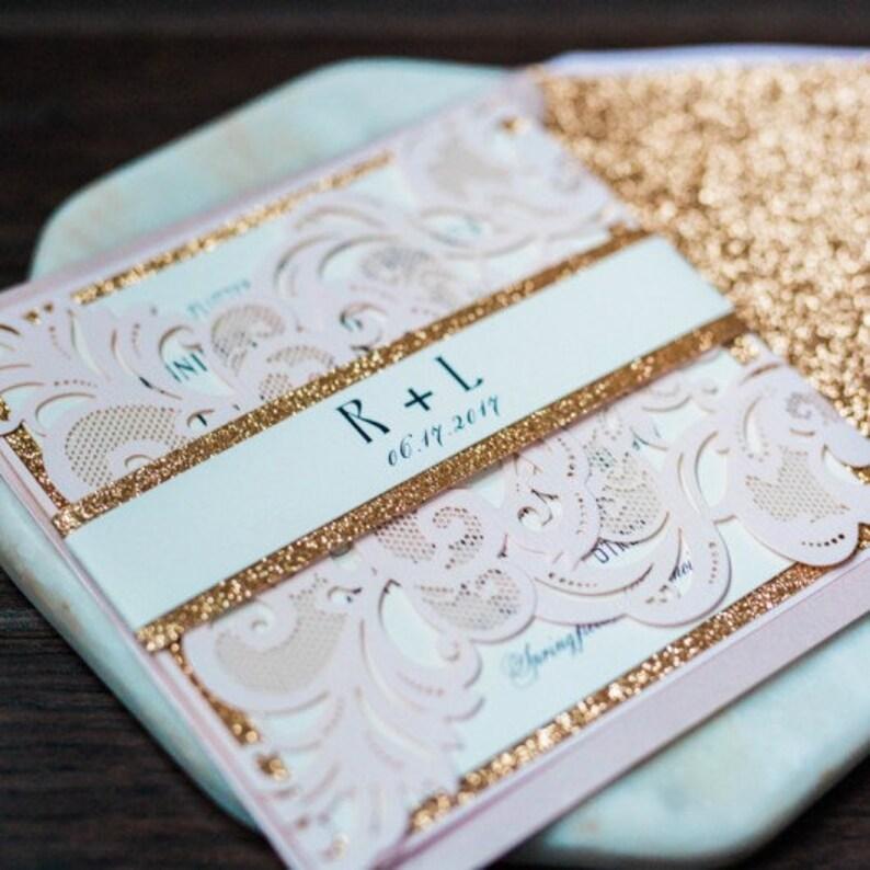 Blush Pink Lasercut Wedding Invite with Rose Gold Glitter image 1