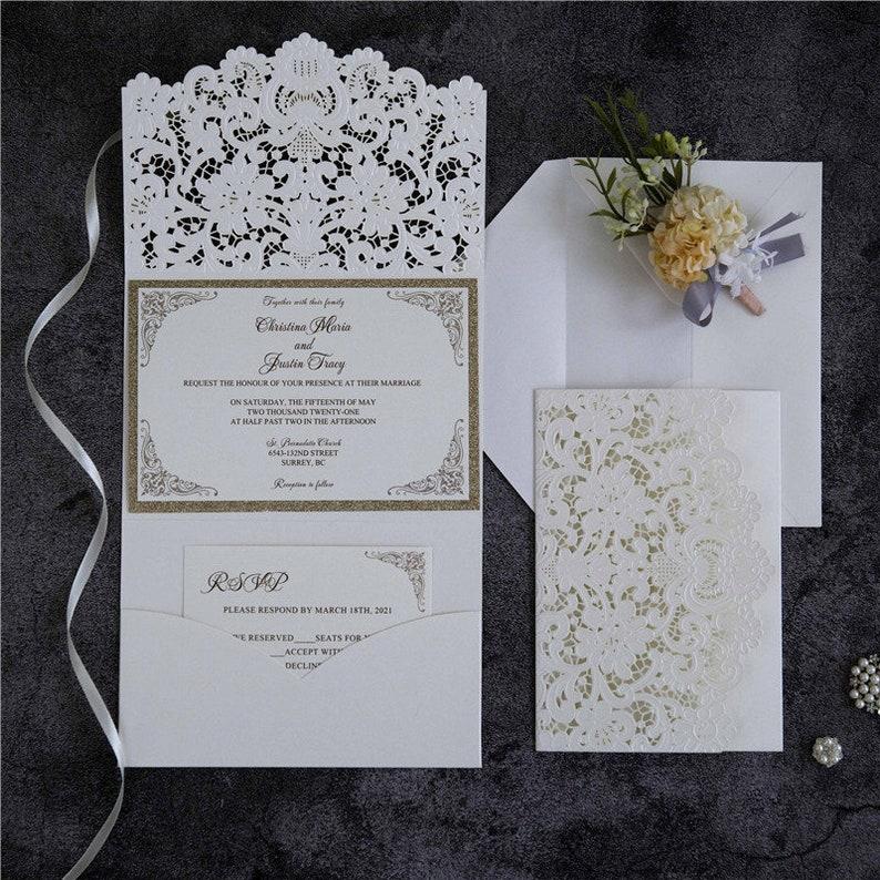 Laser Cut Wedding Invite / Ivory & Gold wedding invite / image 1