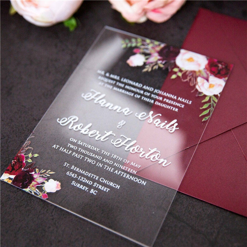 Acrylic Clear Burgundy Red Floral Wedding Invitation / Perspex image 0