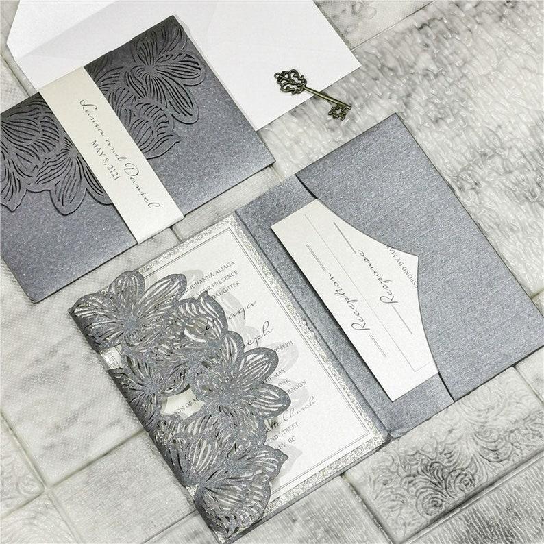 Laser Cut Wedding Invite / Silver Grey wedding invite / image 0