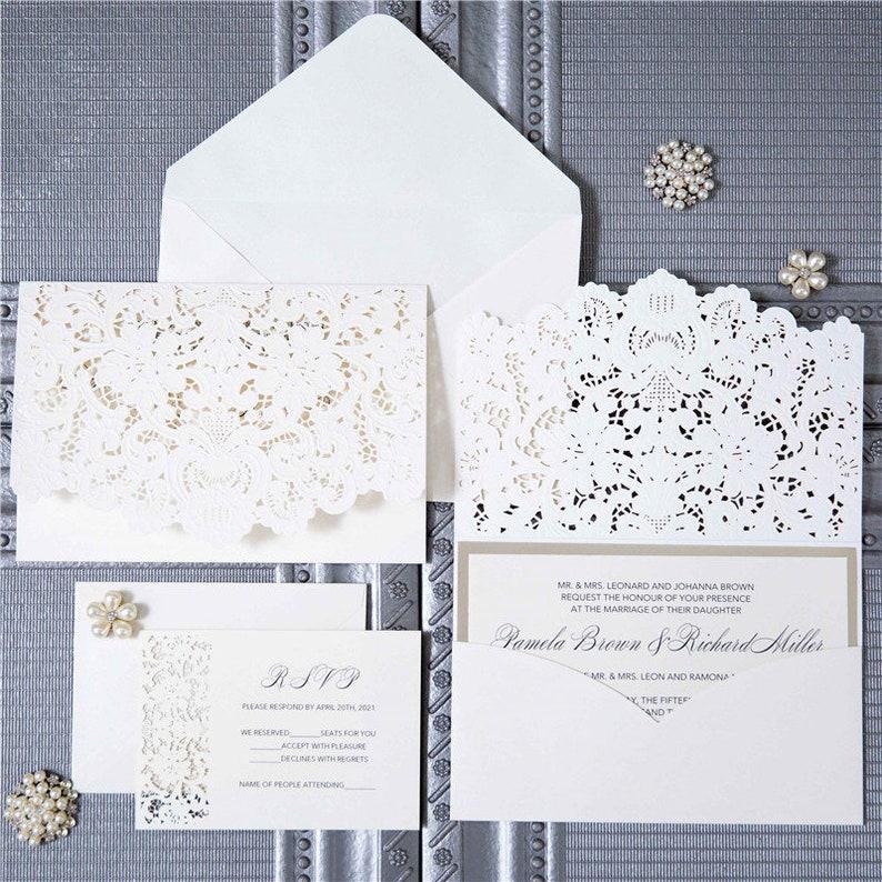 Laser Cut Wedding Invite / Ivory & Gold wedding invite / image 0