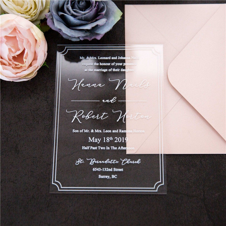 Acrylic Clear & White Wedding Invitation / Perspex Wedding image 0