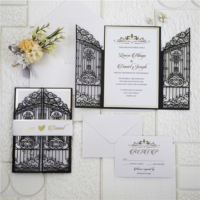 Iron Gate Lasercut Wedding Invite in Black Shimmer with gold image 0
