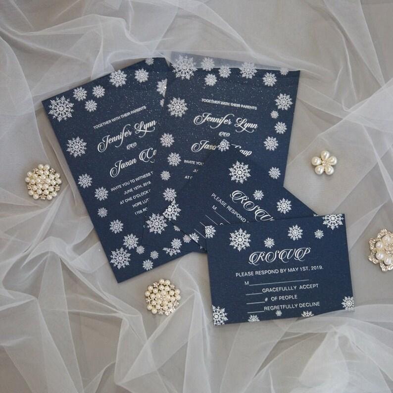 Snowflake UV Printed Wedding Invite / Flat Christmas Wedding image 1