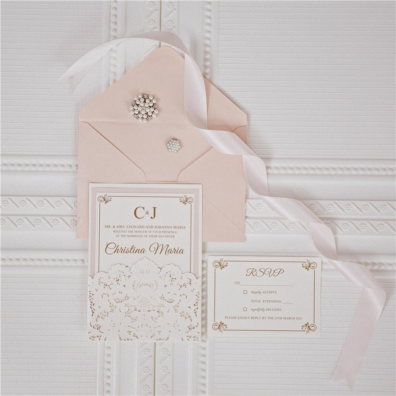 Laser Cut Wedding Invite / Ivory & Blush wedding invite / image 0