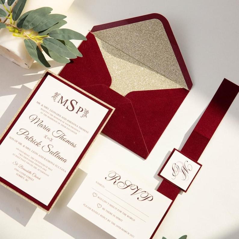 Christmas Red & Gold Glitter Velvet Wedding Invitation with image 1