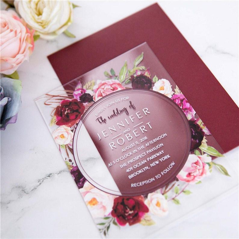Acrylic Clear Burgundy Red Floral Wreath Wedding Invitation image 0