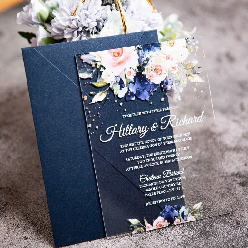 Navy & Blush Floral Acrylic Clear Wedding Invitation / Acrylic image 0