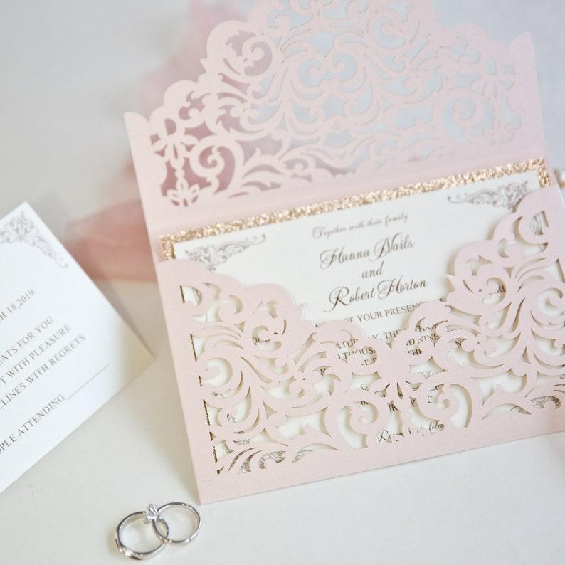 Blush Pink & Rose Gold Glitter Lasercut Envelope Wedding image 0