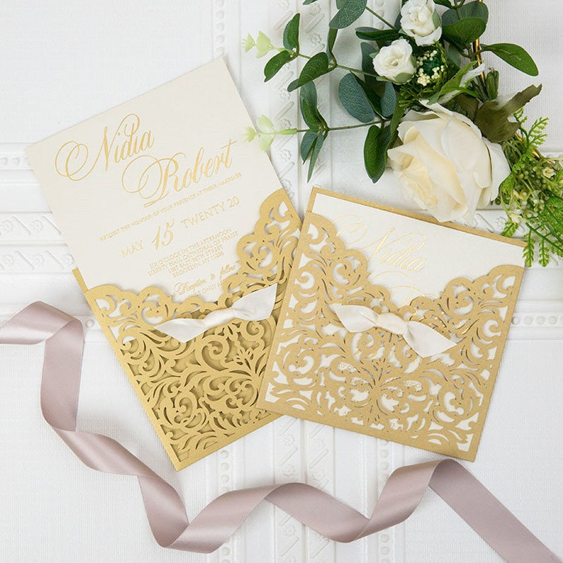 Gold Pocket Wedding Invitation with Gold Foiling Detailing and image 0