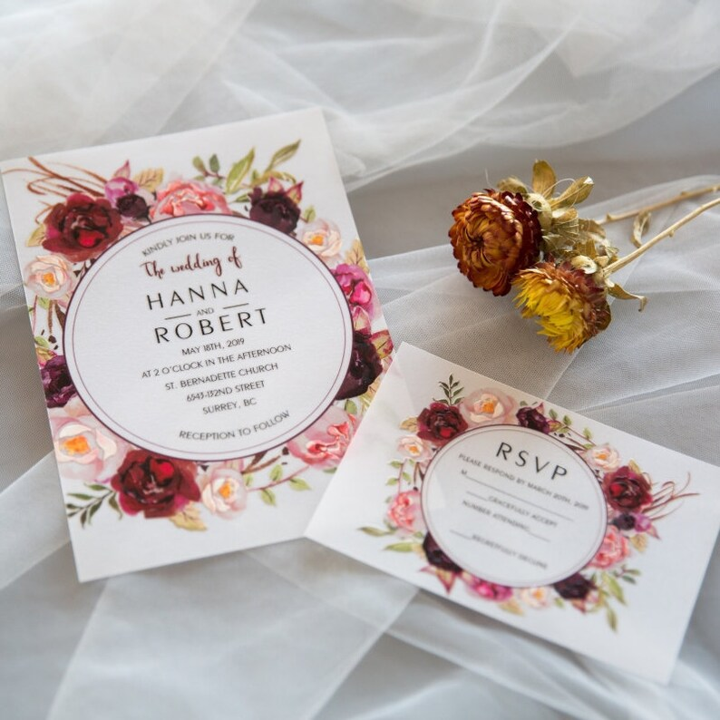 Burgundy Pink & Subtle Peach UV Printed Wedding Invite / Flat image 1