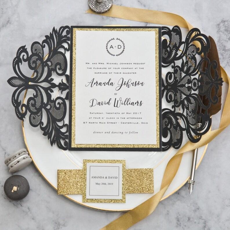 Black & Gold Glitter Laser Cut Wedding Invite / Wedding invite image 1