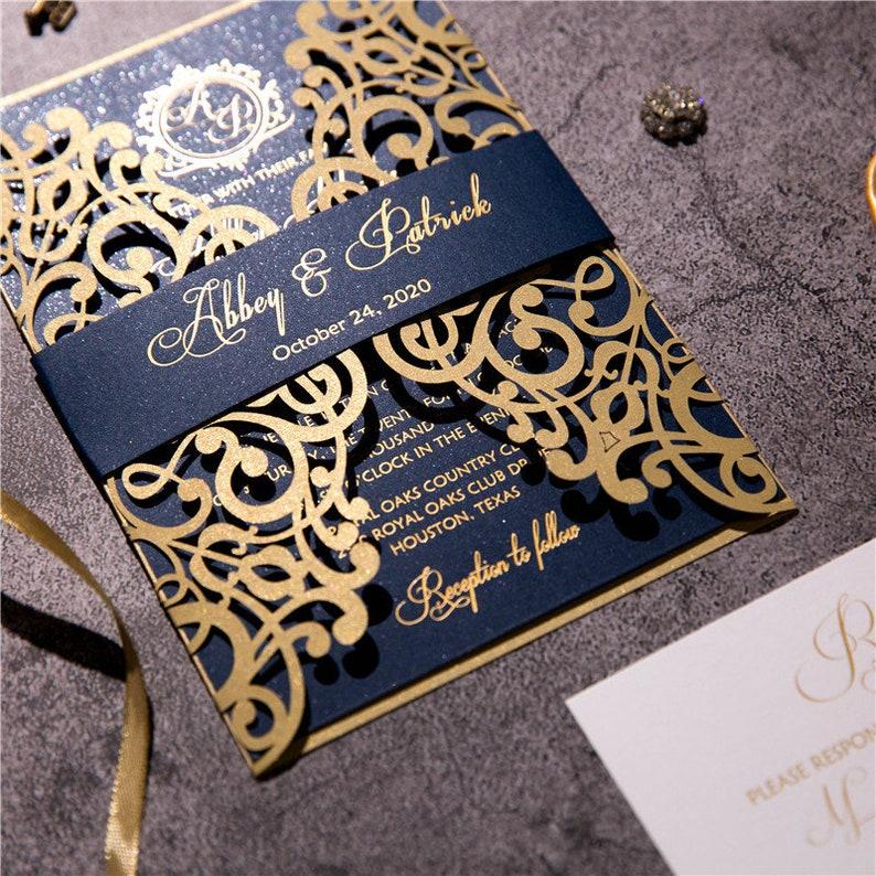 Gold and Navy Wedding Lasercut Gatefold Invitation with Navy image 1