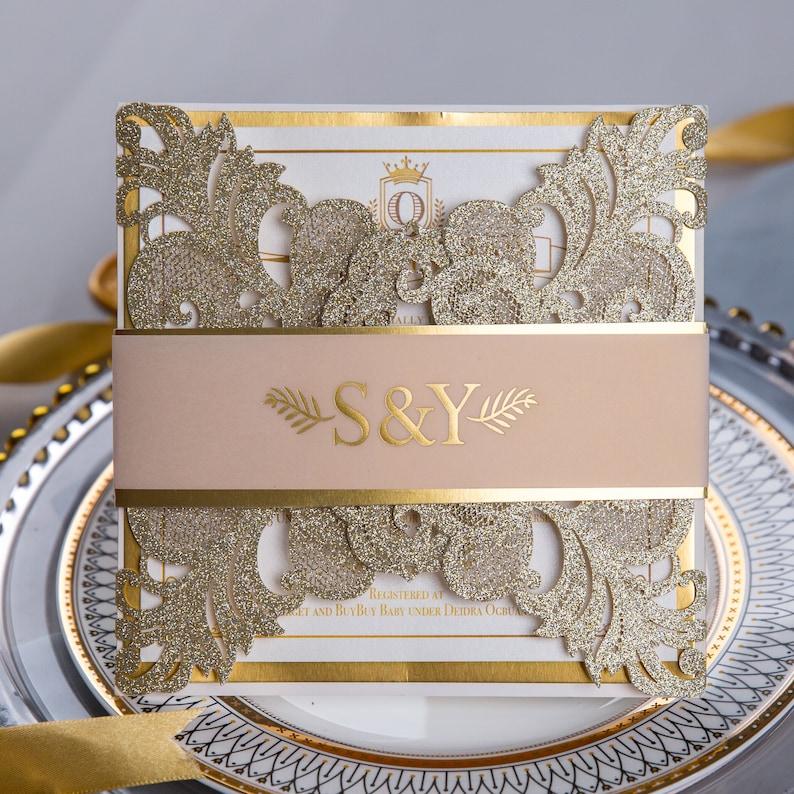 Gold Foil & Gold Glitter Sparkle Lasercut Wedding Invitation image 1