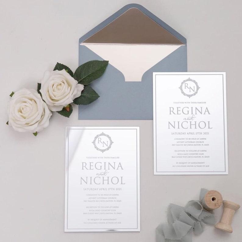 Silver Mirror Acrylic Wedding Invitation with Dusty Blue image 0