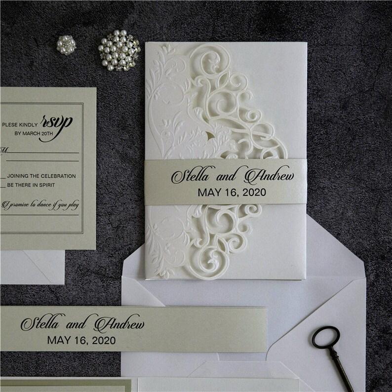Laser Cut Wedding Invite / Ivory wedding invite / Wedding image 1