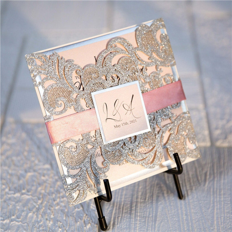 Silver Glitter & Pink Ribbon Lasercut Wedding Invitation with image 1
