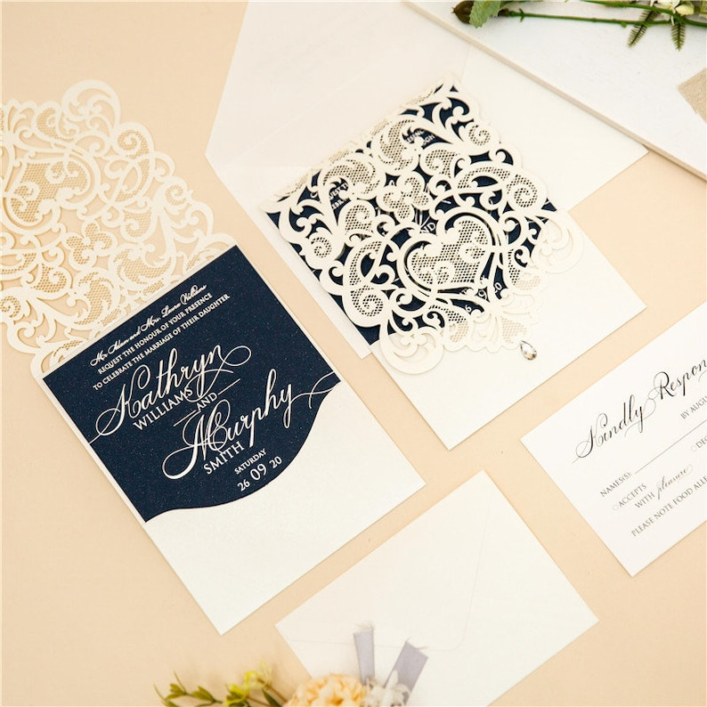 Ivory & Navy Lasercut Wedding Invite with Silver Foil image 0