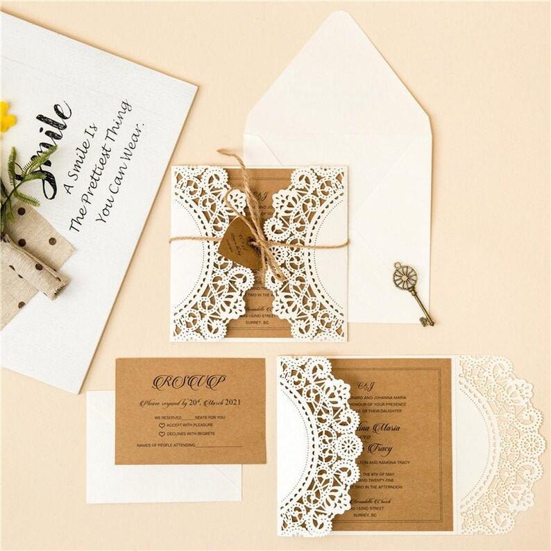 Rustic Laser Cut Wedding Invite / Ivory & Kraft wedding invite image 1