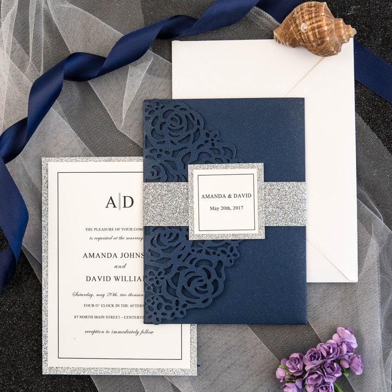 Navy & Silver Glitter Laser Cut Wedding Invite / Navy wedding image 0