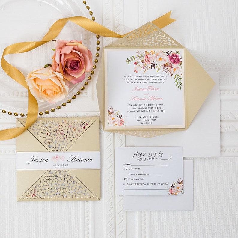 Laser Cut Wedding Invite / Gold wedding invite / Wedding image 1